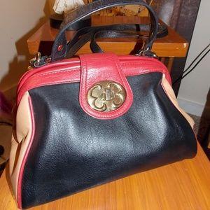Emma Fox leather bag framed satchel Black multi